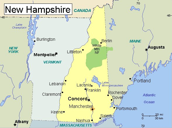 Meteorite Locations - New hampshire on the map of usa